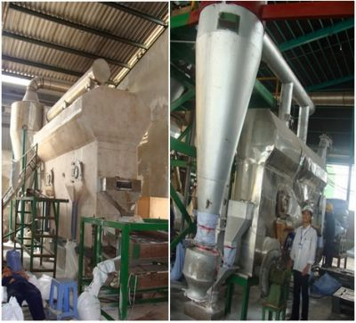 The continuous refine salt fluidized bed with capacity 1500 kg/hour at The chemical Bien Hoa company, Dong Nai.